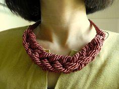 Cinnamon Square Chain Knot Necklace, Sailor Knot Necklace/choker, Rope Necklace, Nautical Necklace, Chunky knot necklace Cinnamon Color. $20.00, via Etsy.