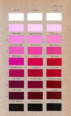 Robert Ridgway´s 1912 book, Color Standards and Color Nomenclature. Rhodamine Purple, Tyrian Rose and Rose Red in the centre. Plate XII