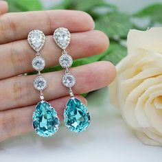Swarovski Crystal Tear drop and cubic zirconia