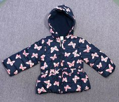 18mo Girls Rain Coat Jacket Polka Dot Black White Pink Cat /& Jack Zip Up New