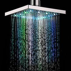 Top 10 vibrant light up shower heads to convey an LED colour burst to your time in the shower. The LED light rain shower head quickly alters the colours. Bathroom Shower Heads, Led Shower Head, Rain Shower, Shower Faucet, Bathroom Faucets, Bathroom Ideas, Bathrooms, Shower Ideas, Bathroom Remodeling