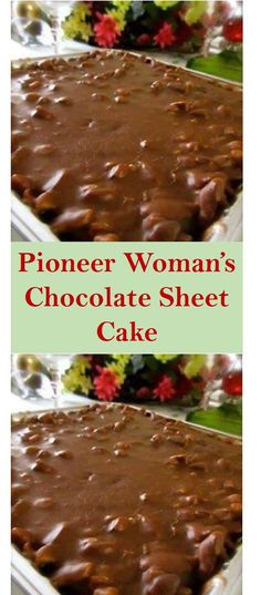 This is The Pioneer Woman's Chocolate Sheet Cake Recipe. You can make this rec… – Blechkuchen rezepte The Pioneer Woman, Pioneer Women, Köstliche Desserts, Dessert Recipes, Sheet Cake Recipes, Recipe Sheet, Just Cakes, Chocolate Recipes, Chocolate Sheet Cakes
