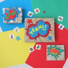 Bold, colourful and fun gift wrapping ideas inspired by the comic books! Great for both, boys and girls. Step by step tutorial!