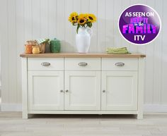 Buy the Somerset 3 Door 3 Drawer Oak and Cream Sideboard at Oak Furniture Superstore