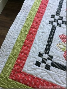 This is Sandra's County Fair quilt and the pattern is by Fig Tree & Co. The fabrics are Moda Farmhouse also by Fig Tree & Co. Sandra ask. Quilting Stitch Patterns, Patchwork Quilt Patterns, Quilt Stitching, Quilting Ideas, Quilt Binding, Quilting Templates, Quilting Stencils, Quilting Rulers, Longarm Quilting