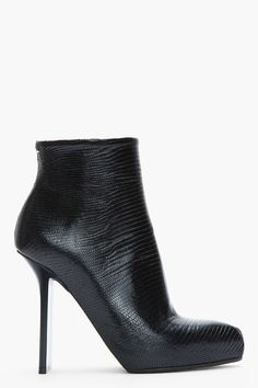 MAISON MARTIN MARGIELA //    Black Patent Lizard Thin-Heeled Ankle Boots
