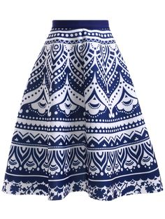 Fashion Blue and White Porcelain Print High Waisted Women's Skirt