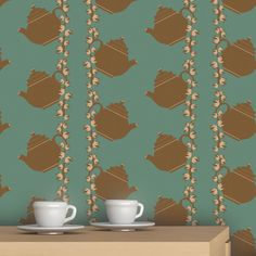 Floral Teapot wall covering by ATADesigns http://www.atadesigns.com/product/floral-teapot-green-wallpaper/