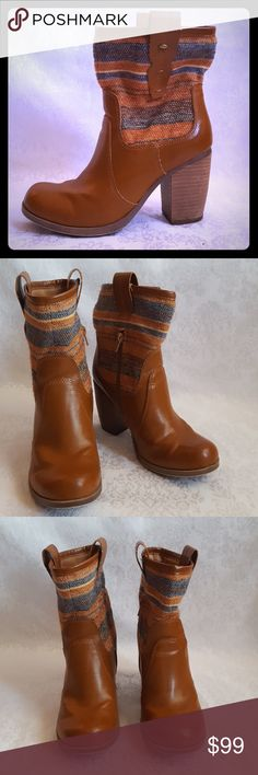 """Arizona Jeans Western Boots Arizona Jeans western style pull on boots with 3 1/2"""" stacked wood heel. Partial inseam zipper. Multi color fabric top. Boot measures approx 9 1/2"""" from base of heel to top of boot.  Excellent used condition. Smoke free and pet free home.   Check out my other listings - 100's of 👠shoes👠, 👢boots👢 and 👜bags👜. Bundle 2 or more and save money!💲💰💲 Arizona Jean Company Shoes Heeled Boots"""
