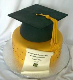 "UCF Grad Cake - 10"" round, gold fondant, and then applied gold luster dust. Cap, 1 7"" round and 1/2 sports ball. Top, board covered in fondant. Tassel, fondant/gumpaste. Diploma printed on edible paper and applied to fondant/gumpaste.."