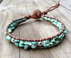 Real Turquoise Leather Bracelet with Sterling by DESIGNbyANCE, $26.00