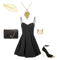 Little black dress with a golden touch! by laura-stad on Polyvore featuring polyvore, fashion, style, Glamorous, Balmain, Chanel and clothing