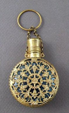 Antique Blue Glass & Ormolu Filigree Hinged Scent Bottle Chatelaine  c.19th Century