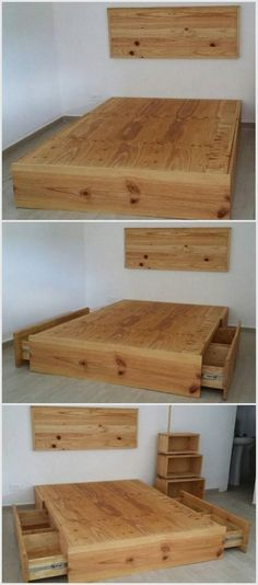 Pallet Bed with Storage #Bedding