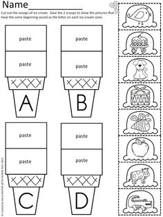 Beginning Sound Scoops!  Color,cut and paste the beginning sound onto the correct ice cream cone!