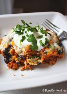Chicken and Black Bean Mexican Casserole - super easy and only 8 ingredients! Gluten-free and 8 grams of fat for a huge serving.