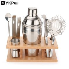 Set of 550ML Stainless Steel Bar Cocktail Drink Shaker Mixer Wine Making Tool Strainer Straw Ice Filter Clip Bottle Opener