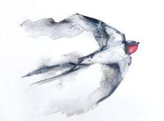 Reserved for Heather flying Swallow ORIGINAL por ravenzwART en Etsy