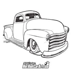 98 best coloring book images car drawings drawings of cars 1953 Hudson Hornet sincustoms hotrodcarart 1952 chevy custom pickup automotive clip art illustration 1952 chevy