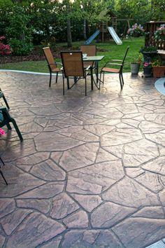 58 Ideas Cement Patio Steps Stamped Concrete For 2019 Stone Patio Designs, Concrete Patio Designs, Cement Patio, Backyard Patio Designs, Patio Ideas, Stamped Concrete Patios, Poured Concrete Patio, Landscaping Ideas, Backyard Ideas