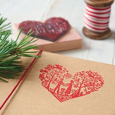 Festive Heart Stamp - could stamp red illustration onto brown paper - could be generic to use again?
