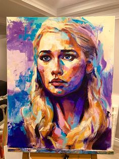 "[SPOILERS] one of my most recent works that i wanted to share. Daenerys Targaryen 30x24"" acrylic on canvas : gameofthrones"