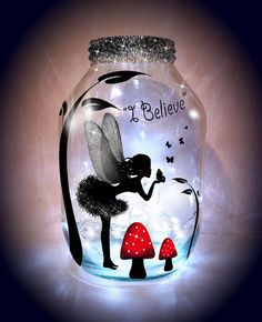 Hand painted Kissing Fairy Lantern, candle holder, light jar, night light, wedding centrepiece, MADE TO ORDER. by melOnDesign on Etsy