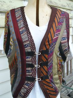 Mans Vest Upcycled With Ties. Reminds me of the wonderful 70s Kaftans.
