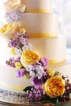 Yellow and lavendar wedding cake