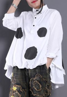 Diy White Dotted Blouses For Women Lapel Asymmetric Shirt Blouses For Women, Pants For Women, Long Sleeve Tops, Long Sleeve Shirts, Cool Hoodies, Black Dots, White Hoodie, Mode Outfits, Black Blouse