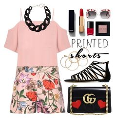 """""""#printedshorts"""" by miee0105 ❤ liked on Polyvore featuring T By Alexander Wang, NLY Accessories, Gucci, Jimmy Choo, Chanel, DIANA BROUSSARD, Bobbi Brown Cosmetics, gucci and printedshorts"""