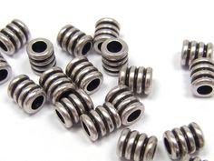 Metallperle, kleine Walze, 4 mm, versilbert, 10 Stück; N157
