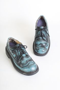 Women's Turquoise and Black Leather Oxfords by Bongo