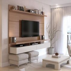 Create a stylish theatrical vibe for your room with this Manhattan Comfort City Floating Wall Theater Entertainment Center in Maple Cream and Off White. Shop Manhattan Comfort City Floating Wall Theater Entertainment Center with great price, The Classy Ho Tv Cabinet Design, Tv Wall Design, Living Room Tv, Living Room Furniture, Dining Room, Tv On Wall Ideas Living Room, Living Area, Design Lounge, Couch Design
