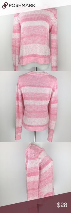 Lilly Pulitzer Pink Striped Cotton Sweater Lilly Pulitzer pink and white striped cotton sweater. In excellent condition! Lilly Pulitzer Sweaters Crew & Scoop Necks