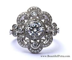 DUCHESS - Custom Made - Diamond Engagement or RIGHT Hand Ring 14K white gold - Weddings- Brides - Bp0011