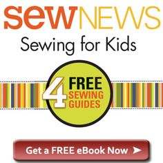 Sewing For Kids - free ebook by Sew News - teach your children to sew - starting with free printable lace up cards for the little ones and all the way up to machine sewing and making pillow shams for the older kiddos - absolutely free you just need to give your email address to get the pdf download