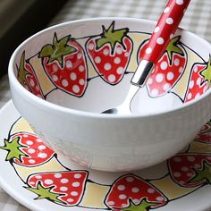 strawberry plate and bowl