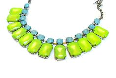 neon jewelry painted rhinestone necklace candy collar acid yellow baby blue (via etsy)