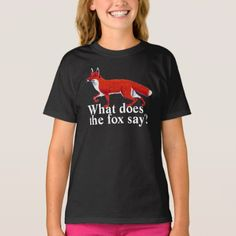 Red Fox with text 'What does the fox say?' T-Shirt - tap, personalize, buy right now!