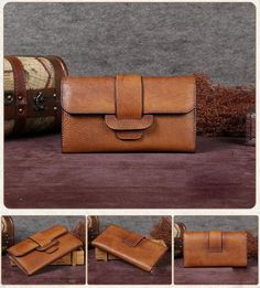 Overview: Design: Vintage Leather Long Wallet Phone Clutch Purse Card Holder In Stock: Days To Process Include: A Wallet Custom: No Color: Brown, Coffee, Grey, Red Material: Cowhide Measures: Inches H Leather Wallet Pattern, Brown Leather Wallet, Leather Shoulder Bag, Leather Clutch, Clutch Purse, Crossbody Bag, Purple Bags, Purple Purse, Vintage Leather