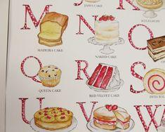 Cake Alphabet Illustrated Giclée Print Wall Art - Prints and Posters British Cake, Jaffa Cake, 50th Cake, Alphabet Art, Kitchen Wall Art, Paper Dimensions, Love Cake, Cake Art, Botanical Prints