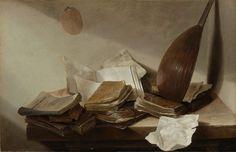 Jan Davidsz. de Heem | Still Life with Books, Jan Davidsz. de Heem, 1625 - 1630 | Stilleven: op een houten tafel in de hoek van een kamer liggen verschillende boeken en paperassen. In de hoek staat een luit tegen de muur geleund.