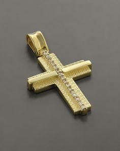 Σταυρός βαπτιστικός χρυσός Κ14 με Ζιργκόν Crucifix, Cross Pendant, Jewelry Design, Chain, Rings, Beautiful, Jewellery, Wedding, Collection