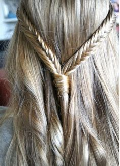 Fishtail braids in blonde hair
