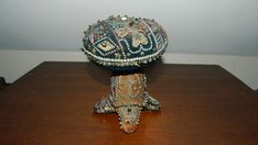 Antique Rare Georgian Bead Work Embroided Sweetheart Mushroom Pin Cushion