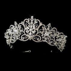 Silver Clear Royal Rhinestone Floral Bridal Headpiece #Tiara StressAwayBridalShop.com #jewellery