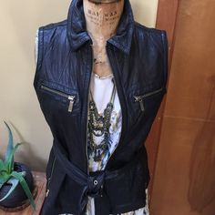 Michael Kors Leather Vest Perfect condition! Worn once. Two pockets (breast) with brass zipper. Zippers on bottom sides. Superb! Michael Kors Jackets & Coats Vests