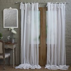 Voile curtain with embroidery Soft Furnishings, Home Goods, Panel Curtains, Voile Curtains, Window Styles, Home Decor, Curtains, House Interior, Furnishings
