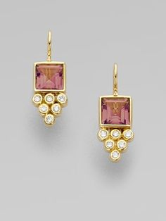 Temple St. Clair Pink Tourmaline, Diamond, & 18K Gold Earrings